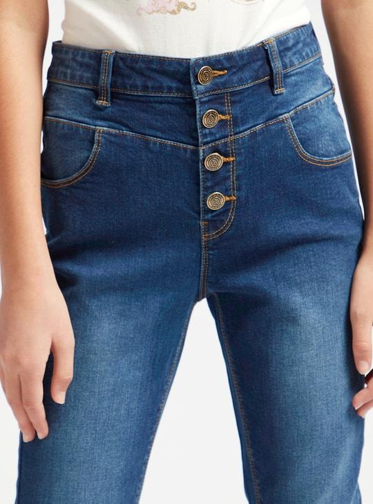 بنطلون جينز سادة بخصر مرتفع وزر إغلاق وجيوب