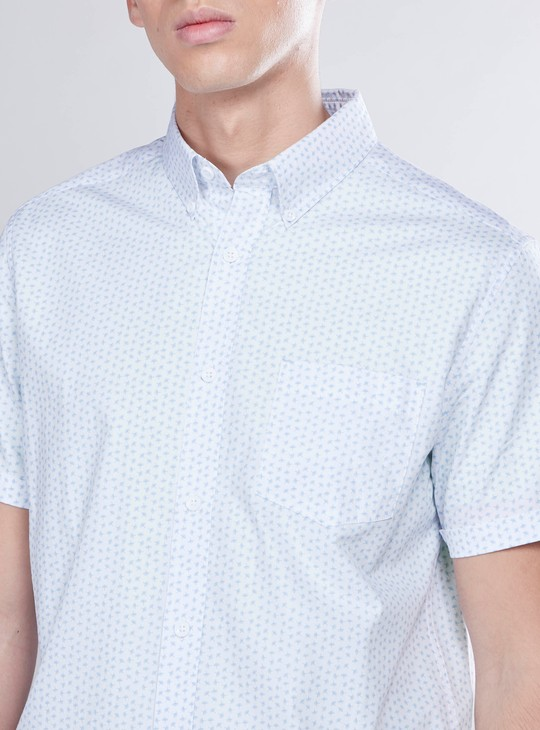 Printed Shirt with Patch Pocket and Short Sleeves