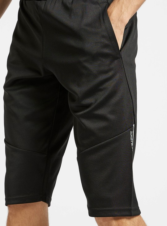 Solid Knee Length Shorts with Elasticated Waist and Pockets