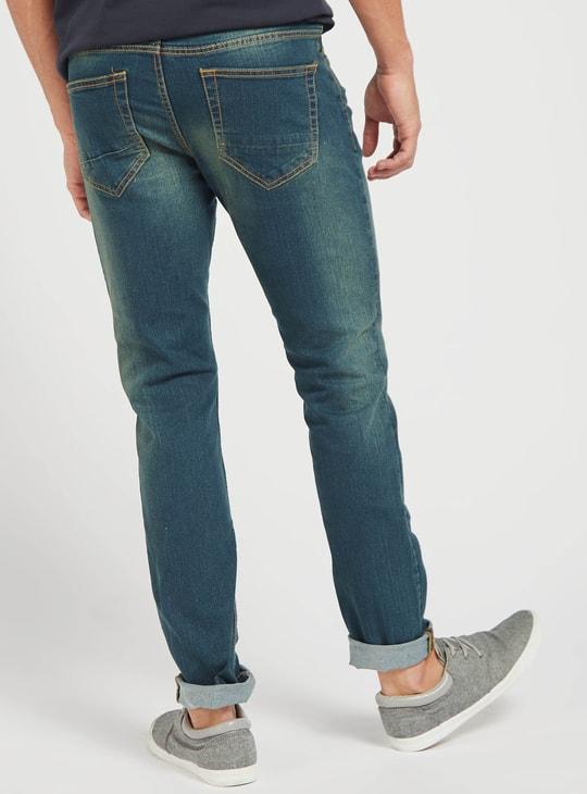 بنطلون جينز سادة طويل سليم فيت بخمسة جيوب