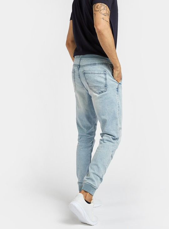 Skinny Fit Textured Mid-Rise Jog Pants with Drawstring Closure