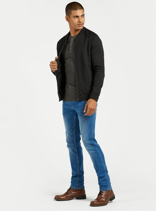 Slim Fit Mid-Rise Jeans with Pockets and Button Closure