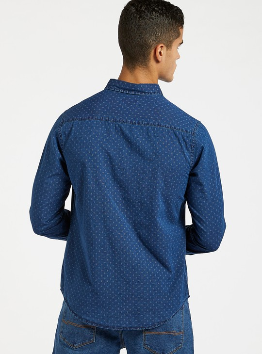 Printed Dobby Denim Shirt with Long Sleeves and Pocket Detail
