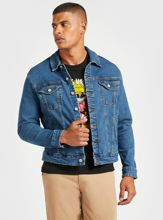 Denim Long Sleeves Trucker Jacket with Pocket Detail