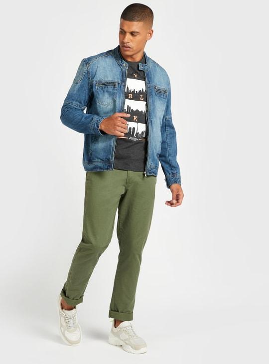 Textured Biker Denim Jacket with Pocket Detail and Long Sleeves