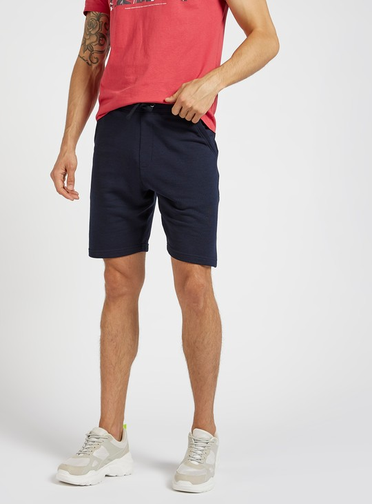 Ribbed Mid-Rise Knit Shorts with Pocket Detail and Drawstring Closure