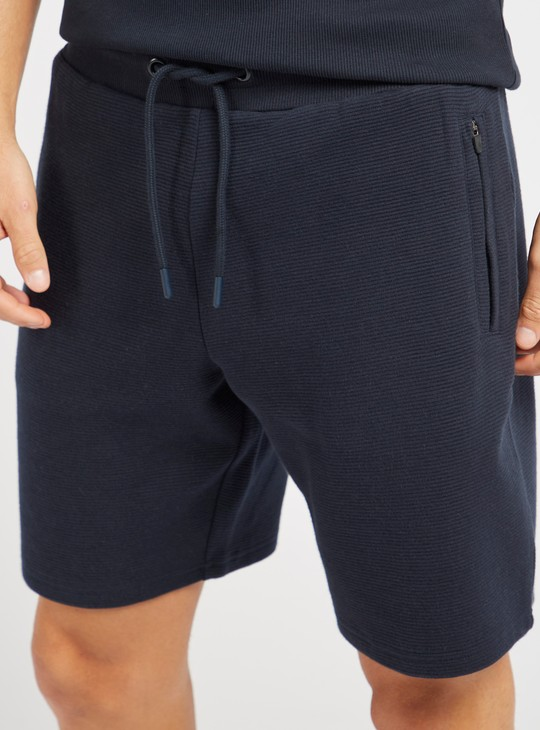 Textured Ottoman Shorts with Elasticated Drawstring Waist and Pockets
