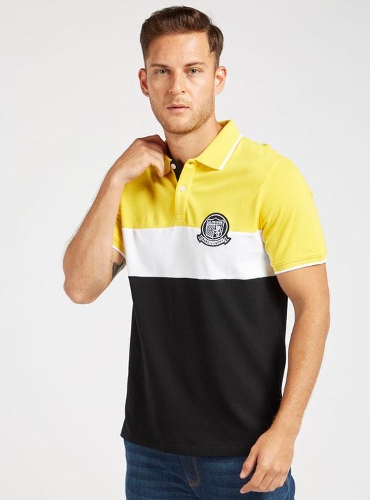 Colourblocked Polo T-shirt with Short Sleeves