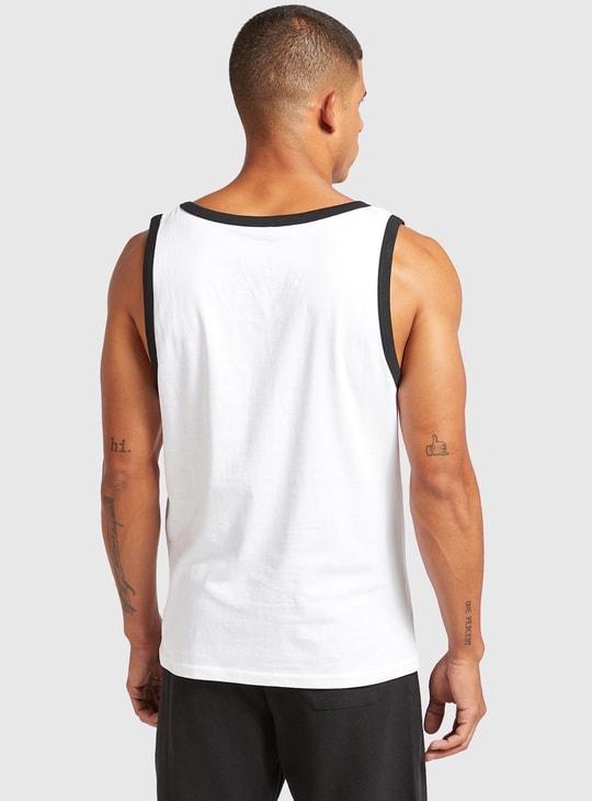 Typographic Print Sleeveless Vest