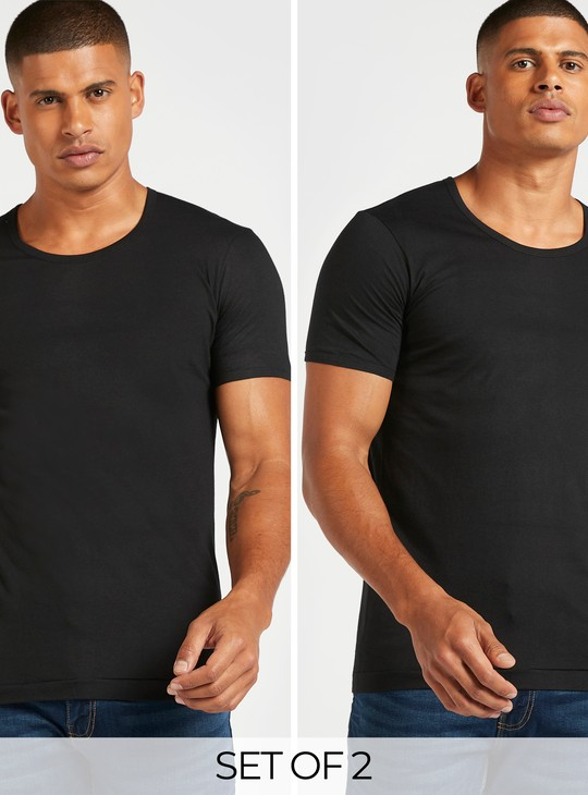 Solid Jersey T-shirt with Short Sleeves - Set of 2