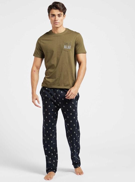 Printed Round Neck T-shirt and Printed Pyjama Set