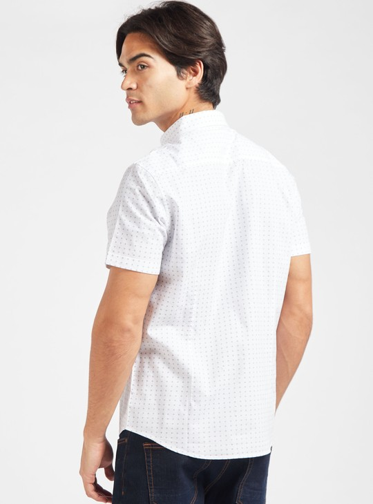 Drail Print Collared Shirt with Short Sleeves and Patch Pocket
