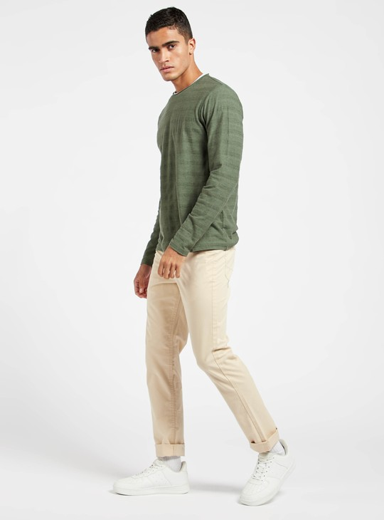 Slim Fit Solid Mid-Rise Chinos with Pockets and Belt Loops