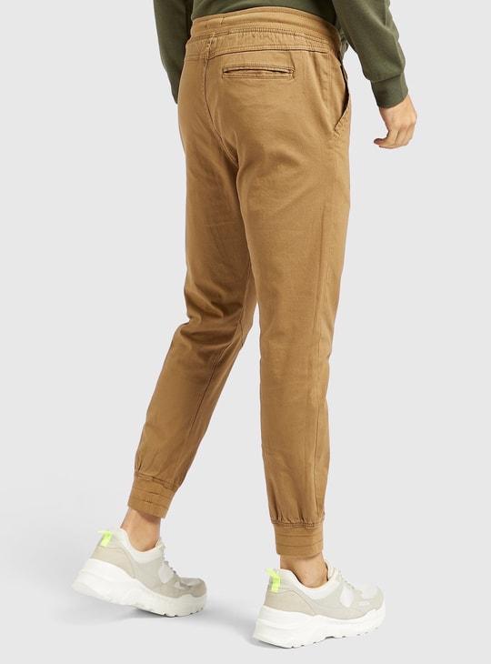 Solid Mid-Rise Jog Pants with Pockets and Drawstring Closure