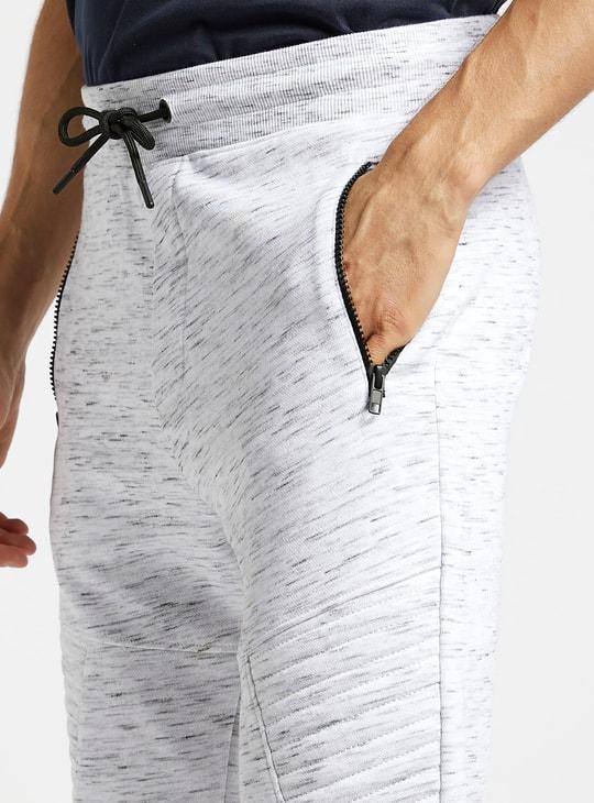 Slim Fit Injected Print Biker Jog Pants with Drawstring Closure