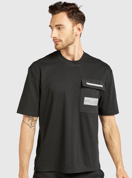Text Print Oversized T-shirt with Round Neck and Short Sleeves