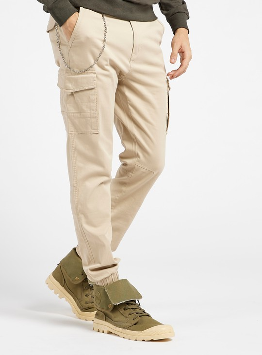 Slim Fit Solid Mid-Rise Cargo Pants with Pockets and Chain Detail