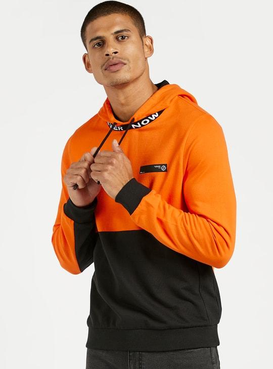 Panel Blocked Hooded Sweatshirt with Long Sleeves