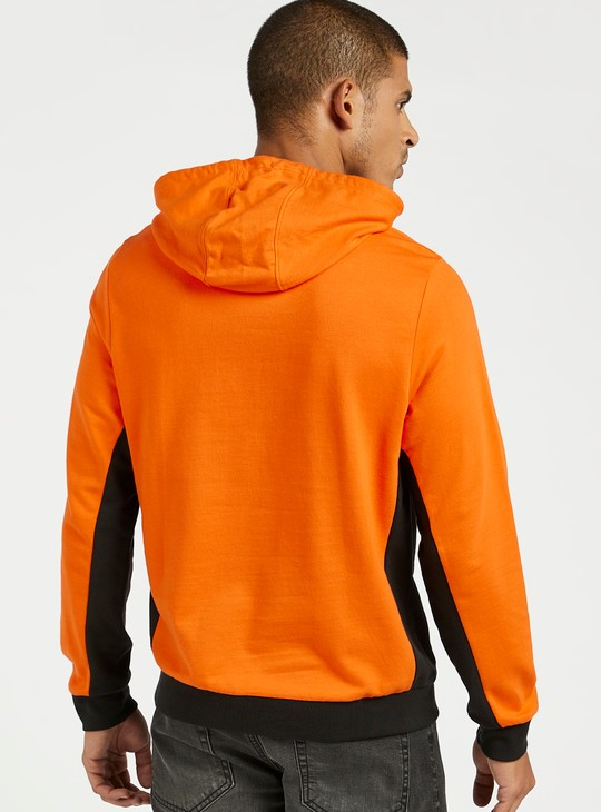 Panel Blocked Hooded Sweatshirt with Long Sleeves