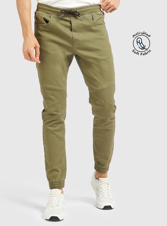 Solid Full Length Mid Rise Joggers with Drawstring Closure and Pockets