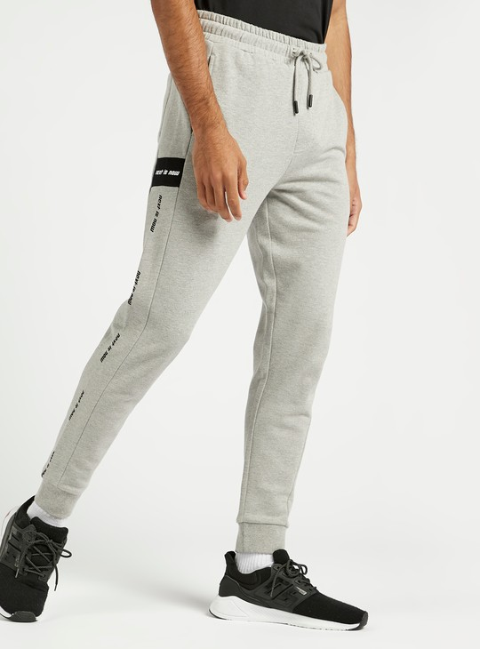 Side Tape Print Cuffed Joggers with Elasticated Drawstring Waistband