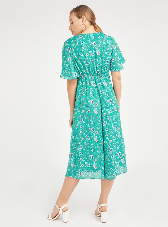 فستان حوامل إيه لاين متوسط الطول بأكمام قصيرة وطبعات أزهار