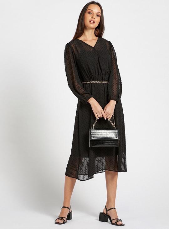 فستان بارز الملمس إيه لاين متوسط الطول بحزام سلسلة