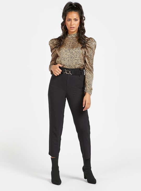 Chain Belted Cropped Pants with Elasticised Waistband