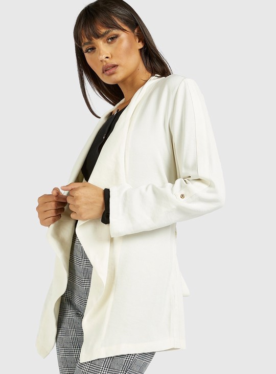 Solid Waterfall Open Jacket with Long Sleeves and Belt