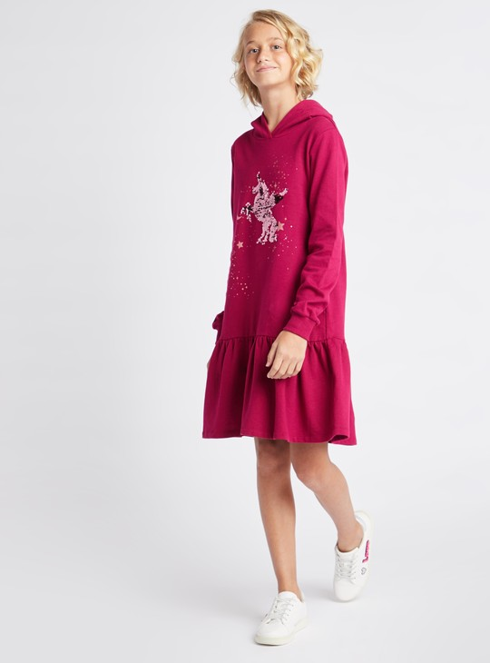 Embellished Hooded Neck Knee Length Dress with Long Sleeves