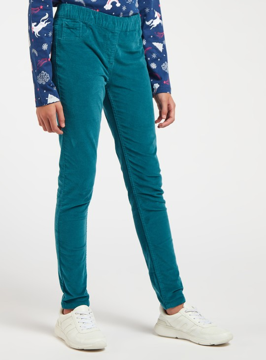 Solid Full Length Jeggings with Elasticated Waistband
