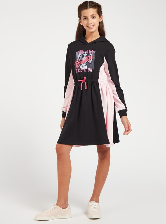 Printed Knee Length Sweat Dress with Hooded Neck and Long Sleeves