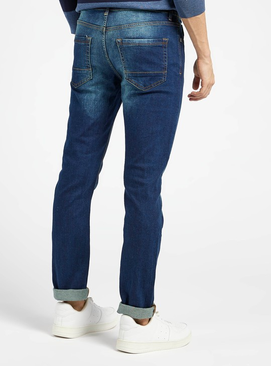 Skinny Fit Textured Jeans with Pocket Detail and Belt Loops