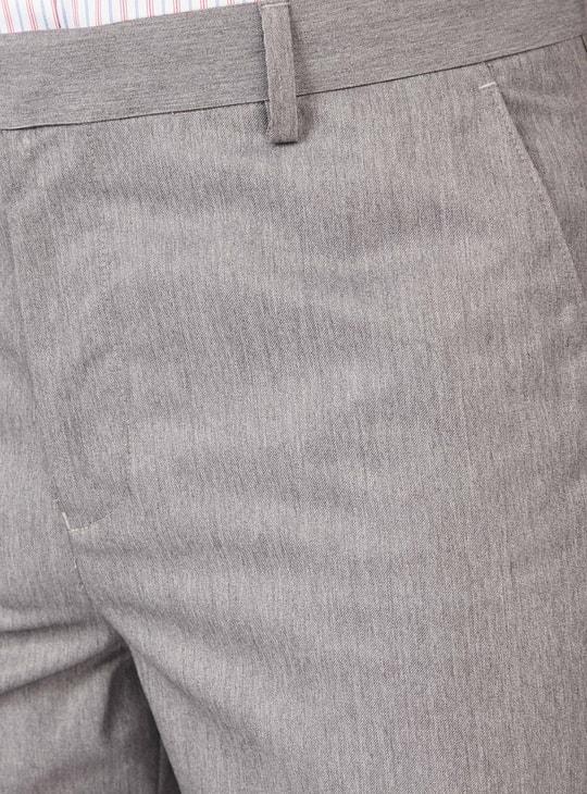 بنطلون رسمي سادة طويل بجيوب وحلقات للحزام