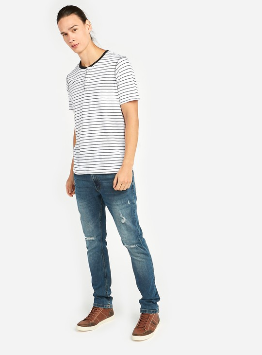 Striped T-shirt with Henley Neck and Short Sleeves