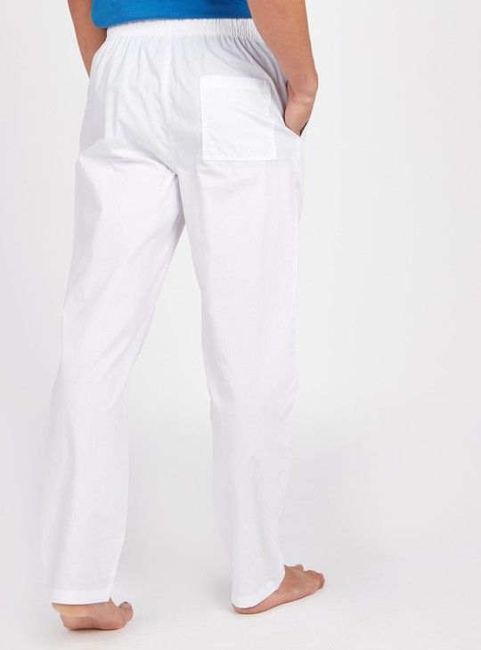 Solid Pyjamas with Pocket Detail and Drawstring