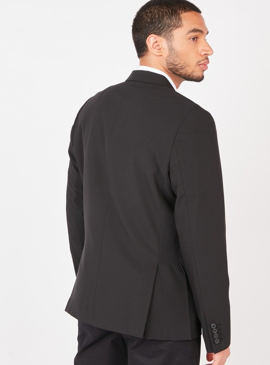Solid Formal Blazer Jacket with Notched Lapel and Flap Pockets