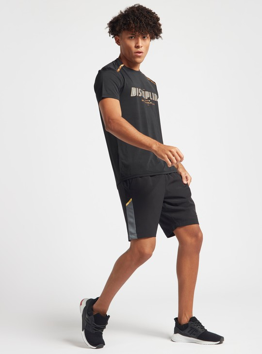 Solid Activewear Shorts with Panel Detail and Pockets