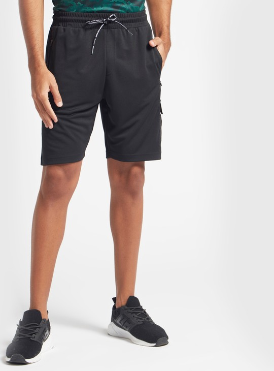 Solid Workout Shorts with Side Pockets and Drawstring Closure