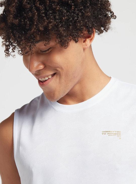 Text Print Jacquard Vest with Crew Neck