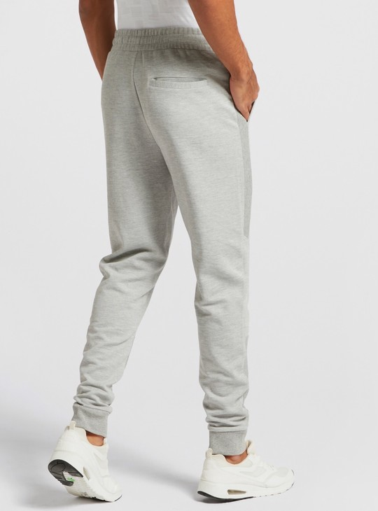 Text Print Jog Pants with Pockets and Panel Detail
