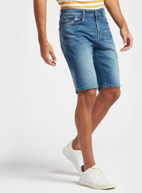 Denim Stretch Shorts with Zip Closure and Pocket Detail