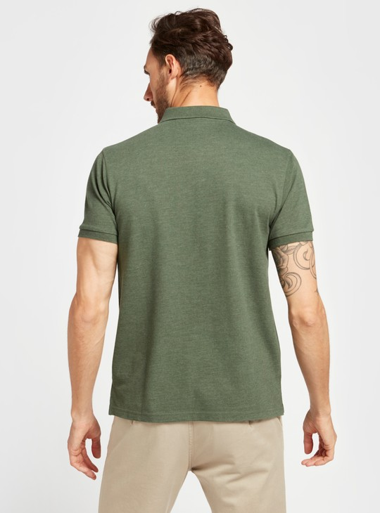 Solid Regular Fit Polo T-shirt with Short Sleeves