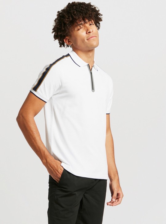 Solid Half Zip Polo T-shirt with Short Sleeves
