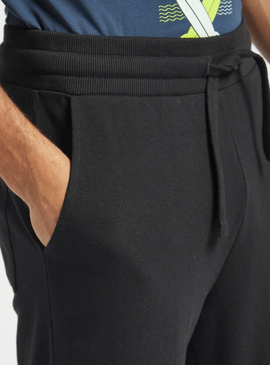 Mid-Rise Full Length Solid Jog Pants with Drawstring