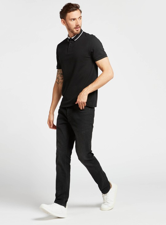 Slim Fit Polo T-shirt with Short Sleeves
