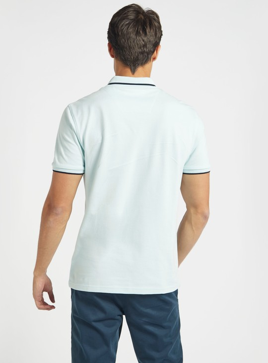 Pique Polo Neck T-shirt with Pocket