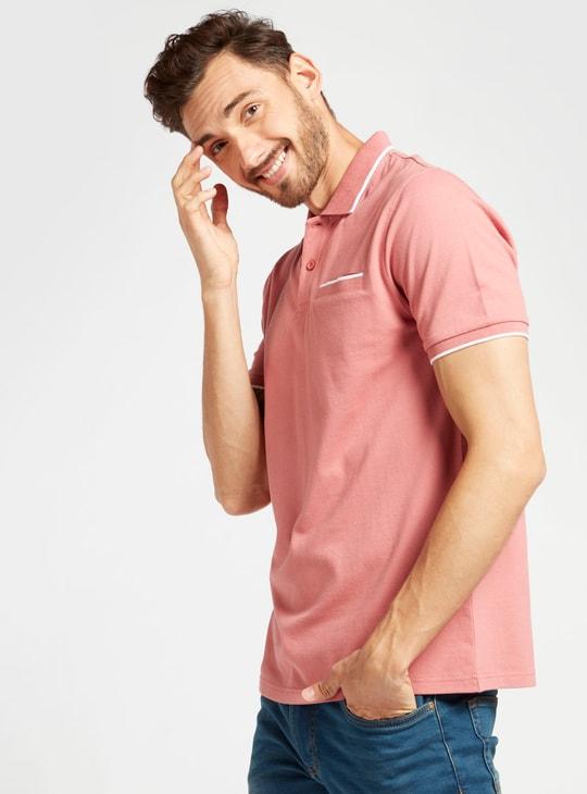Pique Polo Neck T-shirt with Pocket