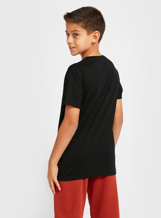 Patch Print T-shirt with Round Neck and Short Sleeves