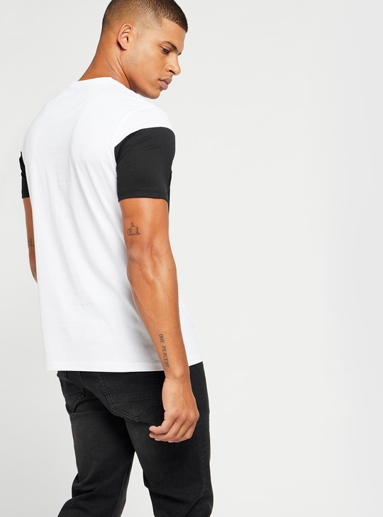 Embossed Print Colour Block T-shirt with Short Sleeves